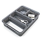 Advantus 5-Piece Woven-Style Plastic Desk Organizer Bins Set in Grey