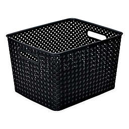 Simplify Large Resin Wicker Storage Tote in Black