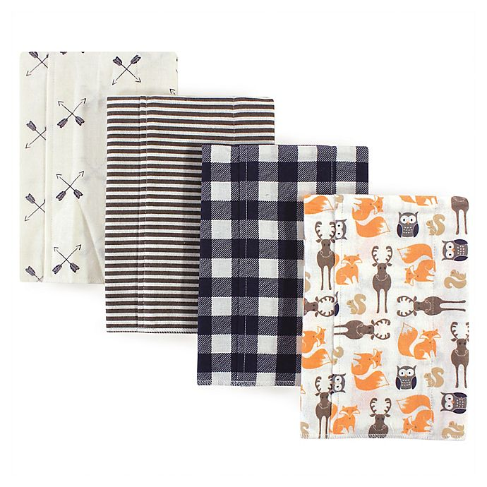 Alternate image 1 for Hudson Baby® 4-Pack Forest Flannel Burp Cloths in Beige