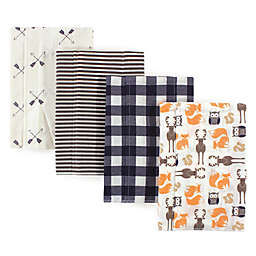 Hudson Baby® 4-Pack Forest Flannel Burp Cloths in Beige