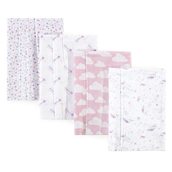 Alternate image 1 for Hudson Baby® 4-Pack Magical Unicorn Flannel Burp Cloths in Pink