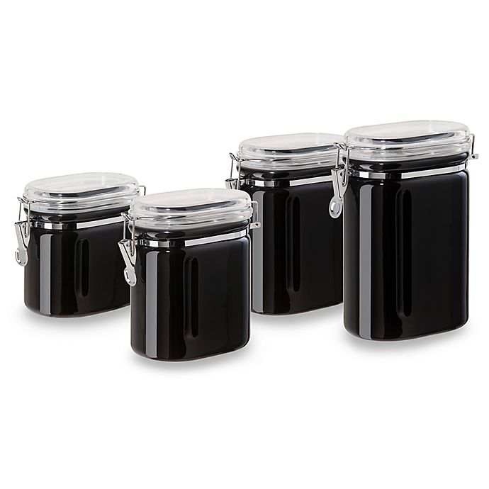 oggi kitchen canisters oggi 4 piece ceramic oval airtight canister set in black bed bath beyond 3097