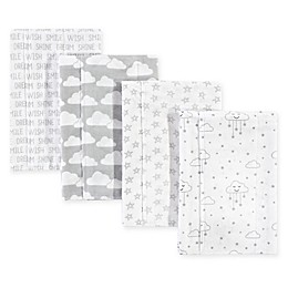 Hudson Bab®y 4-Pack Clouds Flannel Burp Cloths in Grey