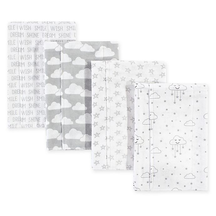 Alternate image 1 for Hudson Bab®y 4-Pack Clouds Flannel Burp Cloths in Grey