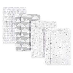 Hudson Bab®y 4-Pack Clouds Flannel Burp Cloths in Grey