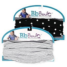 Bazzle Baby BandoBib 2-Pack Stars Infinity Scarf Drool Bib in Black/White