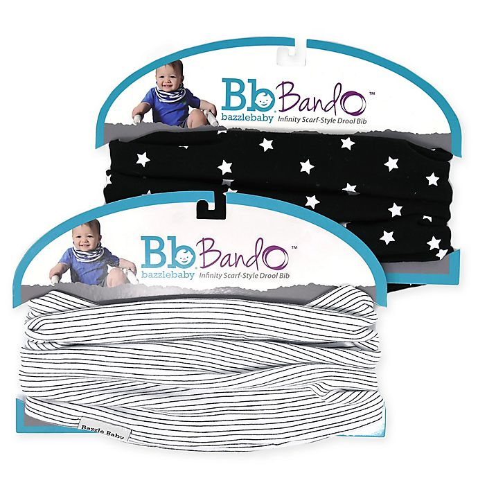 Alternate image 1 for Bazzle Baby BandoBib 2-Pack Stars Infinity Scarf Drool Bib in Black/White