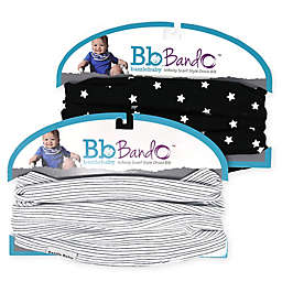 Bazzle Baby BandoBib 2-Pack Stars Infinity Scarf Drool Bib in Black/White