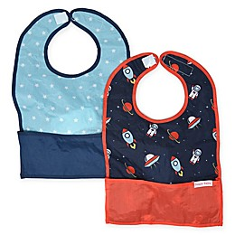 Bazzle Baby GoBib 2-Pack Space Cadet Travel Feeding Bibs in Blue