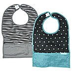 Bazzle Baby GoBib 2-Pack Stripes Travel Feeding Bibs in Black/White