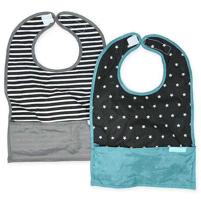Alternate image 1 for Bazzle Baby GoBib 2-Pack Stripes Travel Feeding Bibs in Black/White