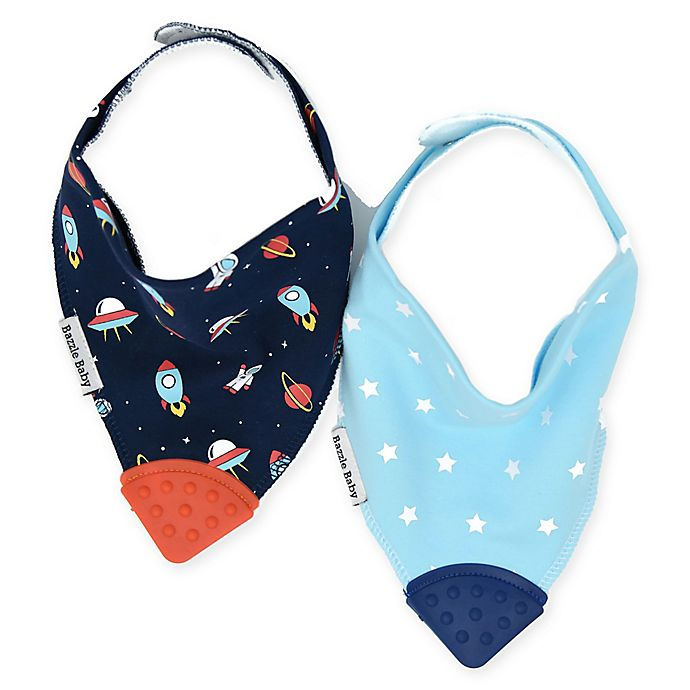 Alternate image 1 for Bazzle Baby 2-Pack Space Cadet Banda Bibs With Teether in Blue
