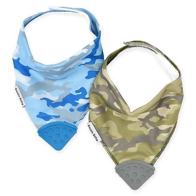 Alternate image 1 for Bazzle Baby 2-Pack Camoflage Banda Bibs With Teether