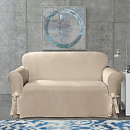SUREFIT Cotton Canvas Wrinkle Resistant Loveseat Slipcover in Sand