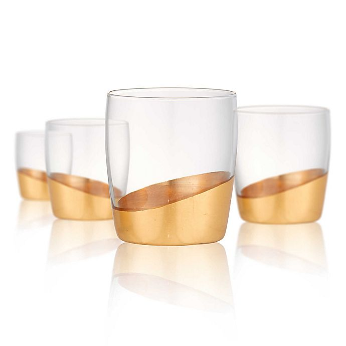 Alternate image 1 for Artland® Luxe Double Old Fashioned Glasses in Gold (Set of 4)