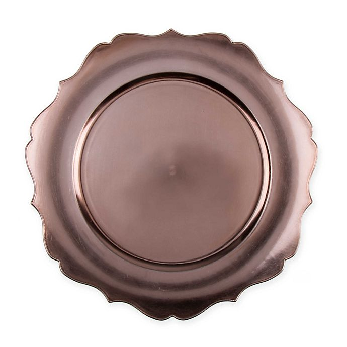 Alternate image 1 for 13-Inch Scalloped Charger Plates in Copper (Set of 6)