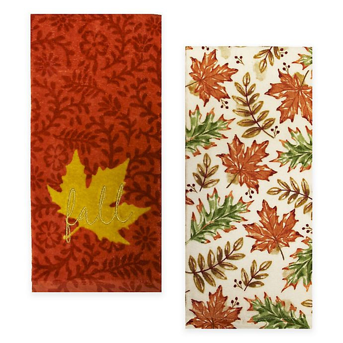 Alternate image 1 for Fall Leaves Kitchen Towels (Set of 2)