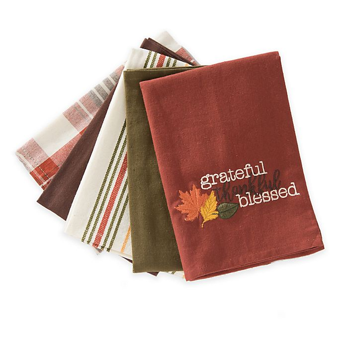 5 Pack Grateful Kitchen Towels Bed Bath Beyond