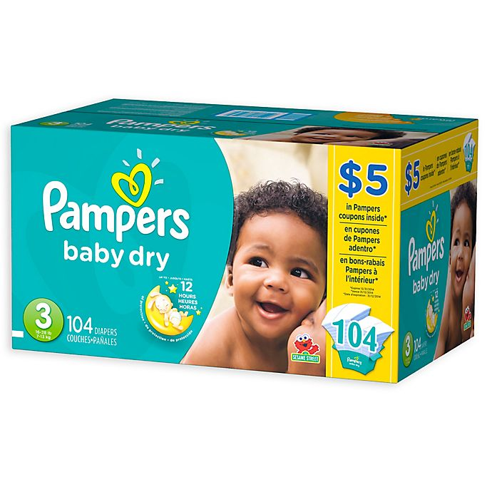 Alternate image 1 for Pampers® Baby-Dry 104-Count Size 3 Disposable Super Pack Diapers