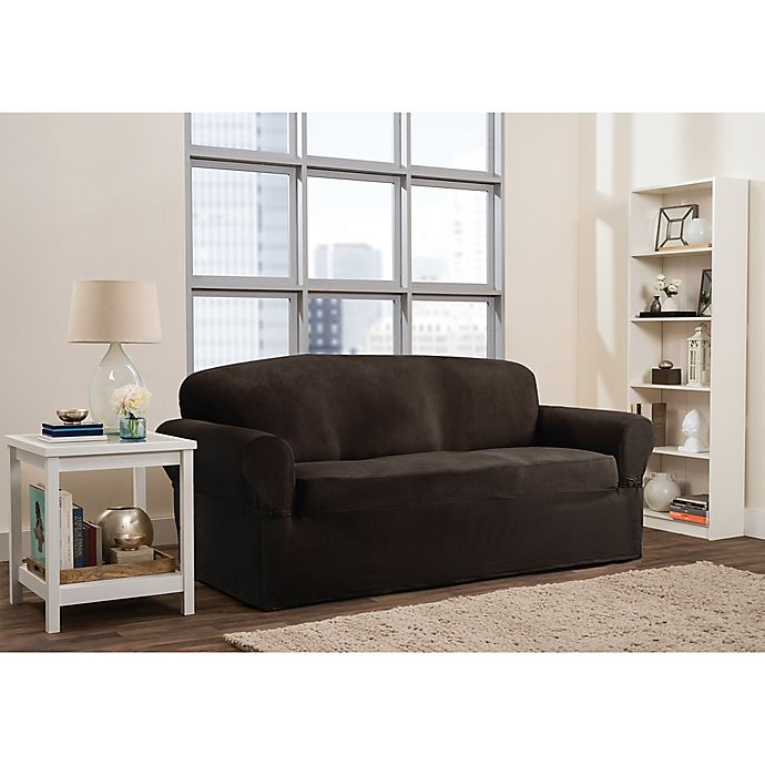 Alternate image 1 for Smart Fit Roland 1-Piece Polyester Stretch Sofa Slipcover in Chocolate