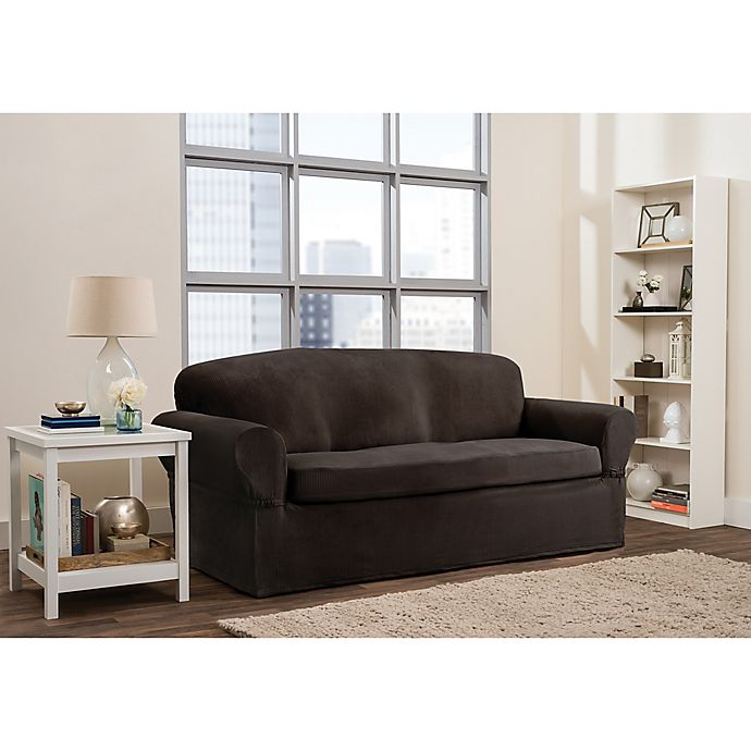Alternate image 1 for Smart Fit Roland 2-Piece Polyester Stretch Sofa Slipcover in Chocolate