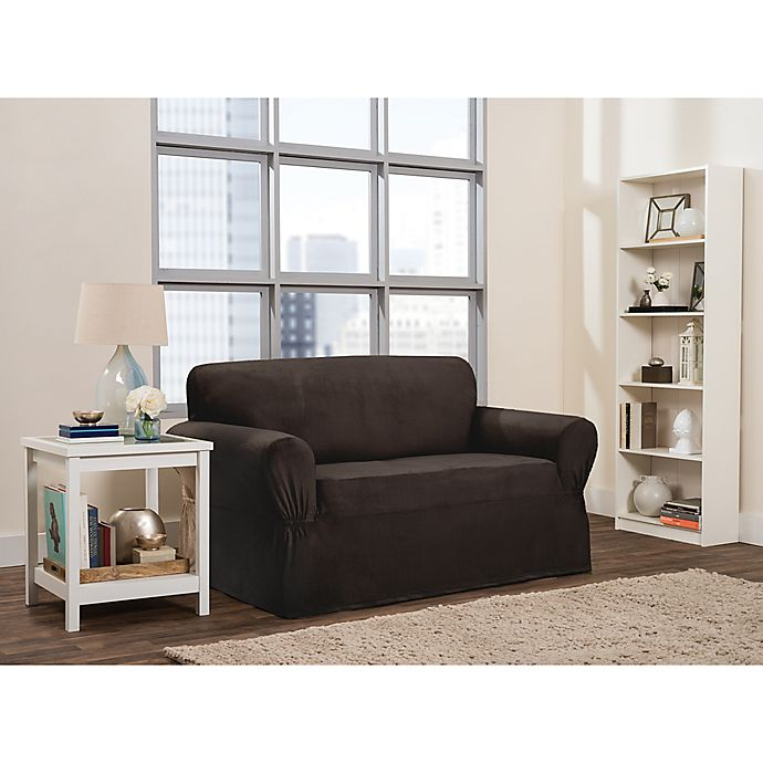Alternate image 1 for Smart Fit Roland 1-Piece Polyester Stretch Loveseat Slipcover in Chocolate