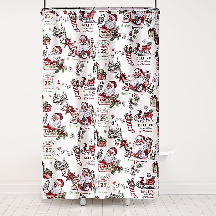 Alternate image 1 for Vintage Santa 72-Inch x 70-Inch Shower Curtain and Hook Set