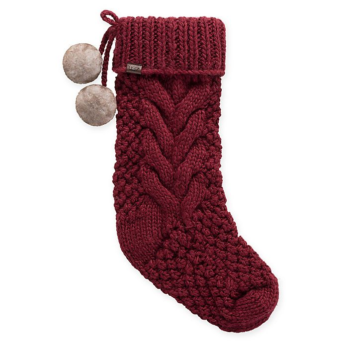 Alternate image 1 for UGG® Classic Cable Christmas Stocking in Redwood