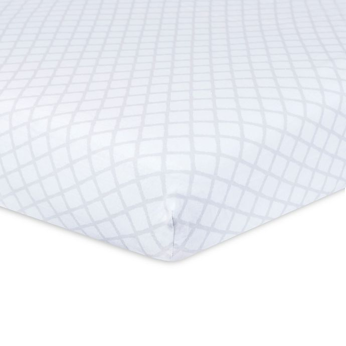 Alternate image 1 for Just Born® Keepsake Trellis Washed Linen Crib Sheet in Grey/White