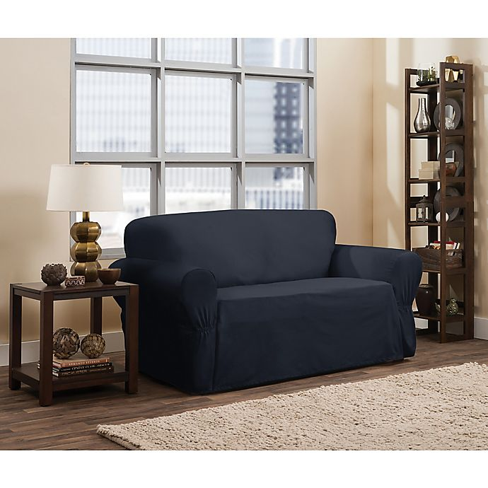 Alternate image 1 for Smart Fit Parker 1-Piece Relaxed Cotton Loveseat Slipcover in Navy