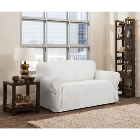 Smart Fit Parker 1 Piece Relaxed Cotton Loveseat Slipcover