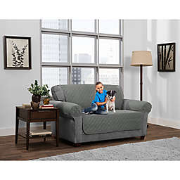 Smart Fit 3-Piece Reversible Suede Loveseat Cover