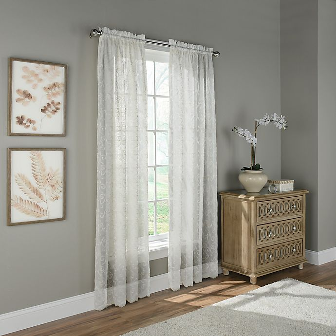 Alternate image 1 for Scroll Embroidery 108-Inch Rod Pocket Sheer Window Curtain Panel in Ivory