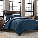 Garment Washed Solid King Comforter Set in Peacock