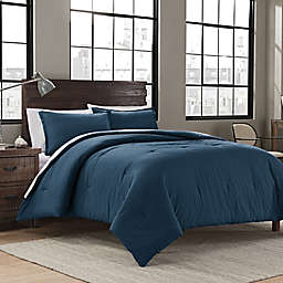 Garment Washed Solid Full/Queen Comforter Set in Peacock