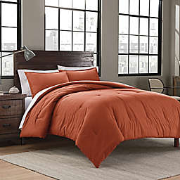 Garment Washed Solid 2-Piece Twin/Twin XL Comforter Set in Burnt Orange