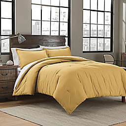Garment Washed Solid Twin/Twin XL Comforter Set in Mustard