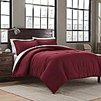 Garment Washed Solid Full/Queen Comforter Set in Maroon