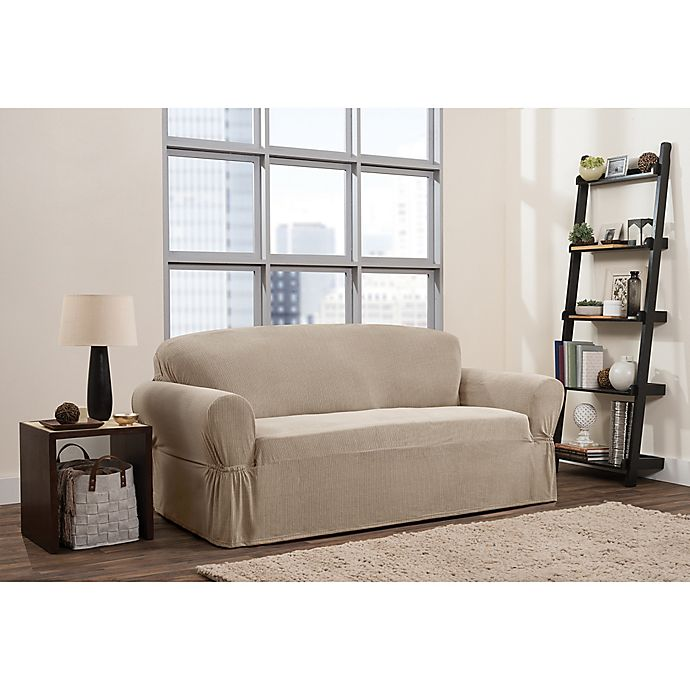 Alternate image 1 for Smart Fit 1-Piece Connor Sofa Slipcover in Taupe