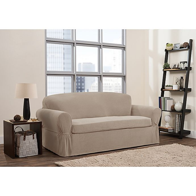 Alternate image 1 for Smart Fit 2-Piece Connor Sofa Slipcover in Taupe