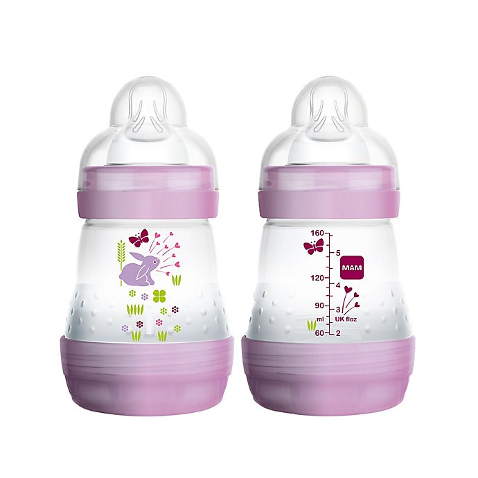 Alternate image 1 for MAM 2-Pack 5 oz. Anti-Colic Bottle in Pink