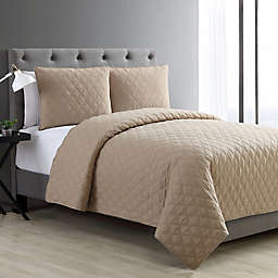 VCNY Home Buckingham Quilted Diamond Twin XL Coverlet Set in Taupe