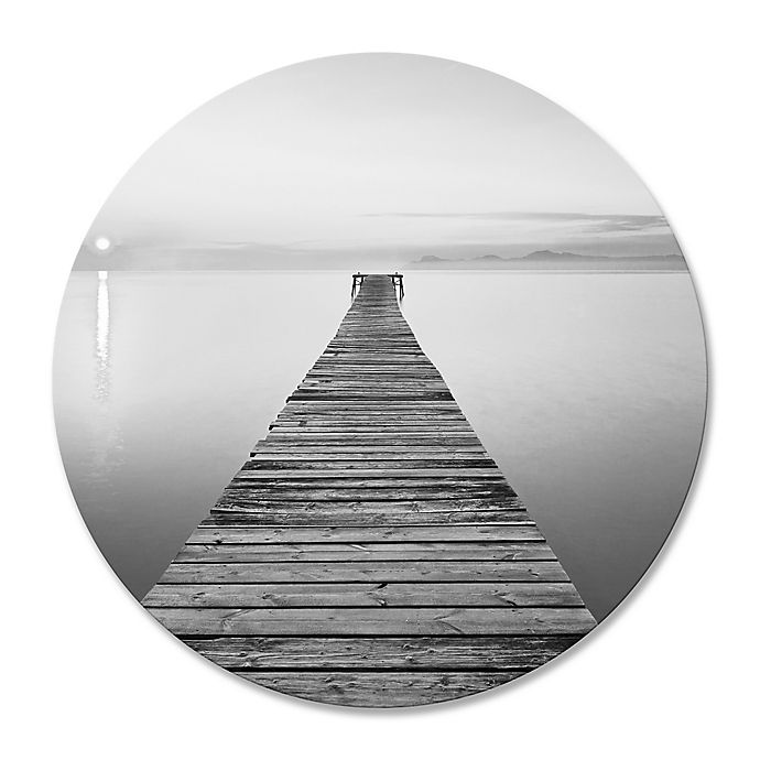 Alternate image 1 for Footbridge Sea Bench 30-Inch Round Wrapped Canvas Wall Art