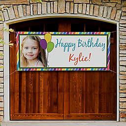 Party Stripe Photo Birthday Banner