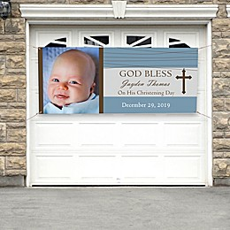 God Bless Photo Christening Banner