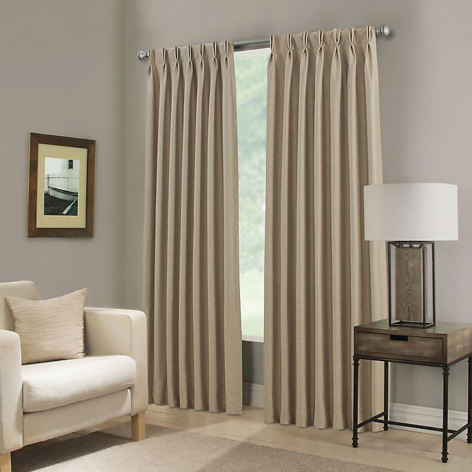 Alternate image 1 for Paradise 95-Inch Pinch Pleat Room Darkening Window Curtain Panel in Flax