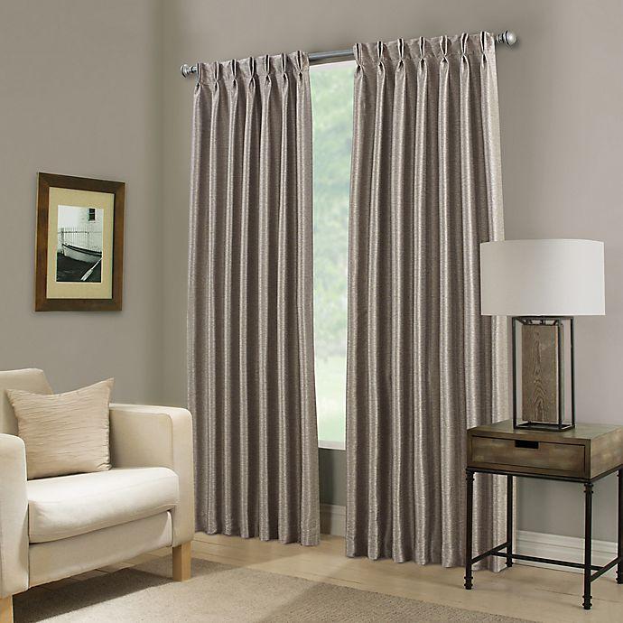 Alternate image 1 for Paradise 95-Inch Pinch Pleat Room Darkening Window Curtain Panel in Stone