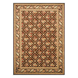 Safavieh Lyndhurst Floral Bouquet 5-Foot 3-Inch x 7-Foot 6-Inch Room Size Rug in Brown