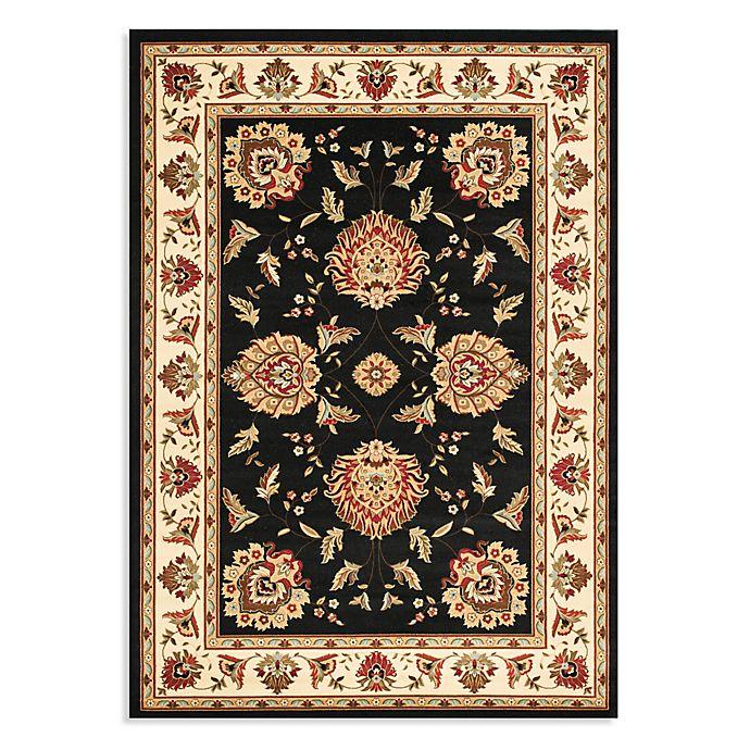 Alternate image 1 for Safavieh Lyndhurst Flower Palmette 5-Foot 3 x 7-Foot 6-Inch Room Size Rug in Black