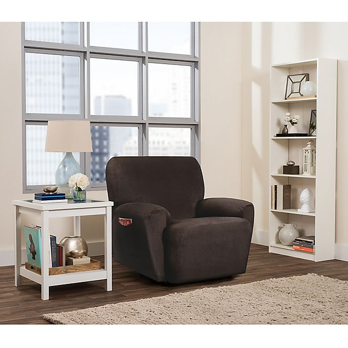 Alternate image 1 for Smart Fit Roland 4-Piece Polyester Stretch Recliner Slipcover in Chocolate
